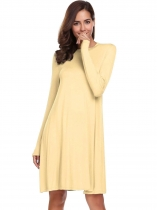Beige Solid Long Sleeve Neck Loose Hem Short Dress