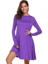Purple Solid Long Sleeve O Neck Loose Hem Short Dress