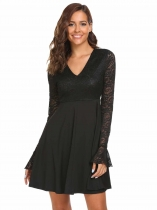 Black Flare Sleeve Lace Patchwork Skater Dress