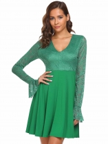 Dark green Flare Sleeve Lace Patchwork Skater Dress