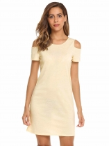 Beige Solid Criss Cross Back Cold Shoulder Short Sleeve Mini Dress