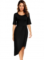 Black Solid Split and Asymmetrical Hem Dress