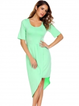Green Solid Split and Asymmetrical Hem Dress
