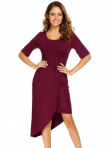 Wine red Solid Split and Asymmetrical Hem Dress