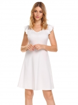 White Manteau en V à manches courtes manche dentelle lacets Patchwork Slim Party A-Line Dress