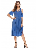 Blue Women V-Neck Écharpe froide Lace Up Flare Sleeve Glitter Casual Robe plissée