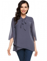 Bow Tie Cross Asymmetrical Hem Double Layers Chiffon Top