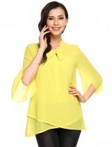 Yellow Bow Tie Cross Asymmetrical Hem Double Layers Chiffon Top