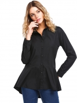 Black Solid Flare Long Sleeve Fitted Button Down Peplum Shirt
