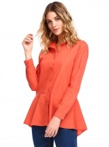 Orange Solid Flare Long Sleeve Fitted Button Down Peplum Shirt