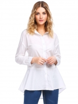 White Solid Flare Long Sleeve Fitted Button Down Peplum Shirt