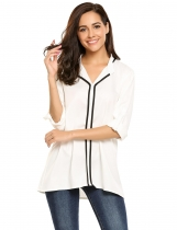White Contrast Color Split Round Neckline Straight Chiffon Shirt