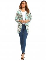 Light blue Batwing Sleeve Open Front Floral Print Cardigan with Pocket