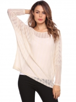 Beige O-Neck Long Batwing Sleeve Solid Loose Tops