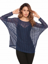Dark blue O-Neck Long Batwing Sleeve Solid Loose Tops