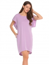 Light purple Batwing Sleeve Solid O Neck Loose Dress