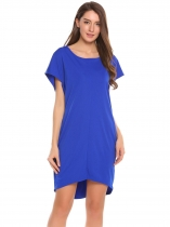 Royal Blue Batwing Sleeve Solid O Neck Loose Dress