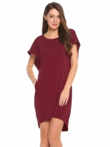 Rouge Violet Violet Rouge Femmes Casual Circulaire Cape Solid O Neck Loose Shift Dress