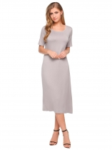 Grey Mujeres Casual Rayón manga corta sólido O cuello partido Maxi Shift Dress