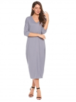 Gray Batwing 3/4 Sleeve Solid Loose Maxi Dress