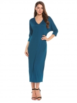 Navy blue Batwing 3/4 Sleeve Solid Loose Maxi Dress