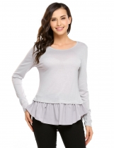 Light gray Long Sleeve Patchwork Ruffles Hem Slim Tops