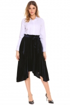 Navy blue Women High Waist Solid Velvet Irregular Casual Midi Pleated Skirt with Belt