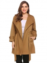 Brown Women Plus Size Hooded Long Sleeve Trench Coat with Belt