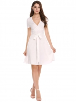 White Plunging Neck Solid Slim Belted Dress