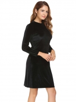 Black Velvet Stand Collar Long Sleeve Solid Bodycon Pencil Dress