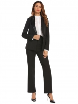 Black Women Casual Turn-down Collar Long Sleeve Button Pocket Sexy Blazer