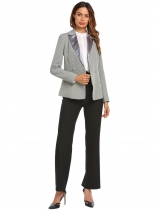 Dark gray Women Casual Turn-down Collar Long Sleeve Button Pocket Sexy Blazer