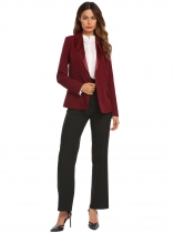 Wine red Women Casual Turn-down Collar Long Sleeve Button Pocket Sexy Blazer