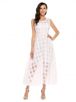 Organza Femmes sans manches Plaid Maxi Large Swing Robe plissée Long Party Casual Banquet
