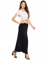 Black Solid Elastic Waist Swing Maxi Skirt