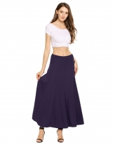 Dark blue Solid Elastic Waist Swing Maxi Skirt