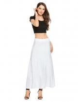 White Solid Elastic Waist Swing Maxi Skirt