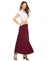 Wine red Solid Elastic Waist Swing Maxi Skirt