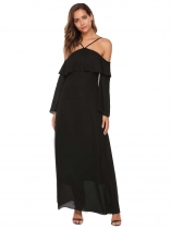 Noir Femmes au large de l'épaule Retour Hollow Out sangles spaghetti réglables Solid Swing Long Dress