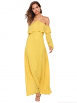 Yellow Mujeres fuera de la espalda hombro Hollow Out correas espagueti ajustable Solid Swing Long Dress