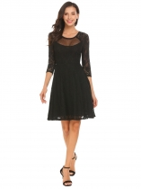 Black Women Casual O-Neck 3/4 Sleeve Lace Floral Patchwork A-Line Pleated Sexy Dress