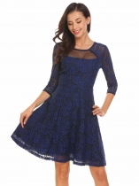 Dark blue Women Casual O-Neck 3/4 Sleeve Lace Floral Patchwork A-Line Pleated Sexy Dress