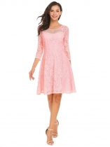 Pink Women Casual O-Neck 3/4 Sleeve Lace Floral Patchwork A-Line Pleated Sexy Dress