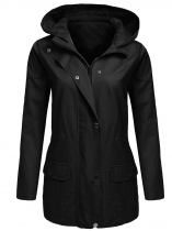 Black Zip-Up Solid Drawstring Hooded Military Jacket with Pocket