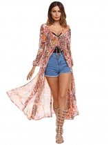 Kobiety Casual Beach V-Neck Lace Up Lampion Long Sleeve Prints Chiffon Cardigan