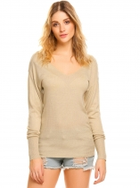 Khaki Women V-Neck Long Sleeve Solid Casual Loose Thin Knit Pullover Sweater