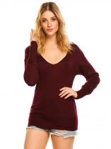 Wine red Women V-Neck Long Sleeve Solid Casual Loose Thin Knit Pullover Sweater