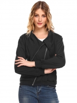 Black Turn Down Collar Zip Up Solid Slim Fit Casual Jacket with Pocket