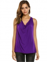 Purple Cowl Neck Sleeveless Draped Solid Loose Fit Casual Tank Tops
