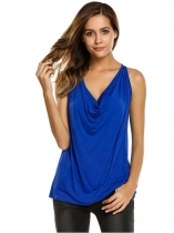 Dark blue Cowl Neck Sleeveless Draped Solid Loose Fit Casual Tank Tops